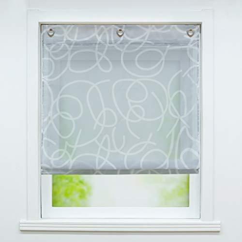 Joyswahl Voile Ösenrollo Transparenter Raffrollo mit Druck »Minna« Schals Fenster Gardine mit Hakenaufhängung, ohne Bohren BxH 60x140cm Grau 1 Stück