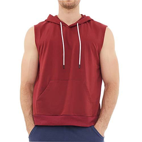 Dubinik - Sudadera ligera con capucha para hombre, manga corta y bolsillo canguro - - Medium