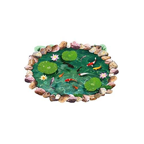 Pegatinas de Pared 3D WINOMO Pegatinas de Piso Murales de Arte de Pared Extraíbles (Estanque de Loto Pez de Colores)