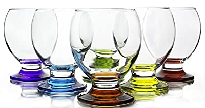 Red Co. Orion Colored Footed Goblets, 8.25 Ounce - Set of 6