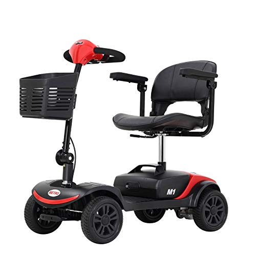 Metro Mobility Electric Mobility Scooter for Seniors Adults - Foldable Tiller - Compact for Travel - 12 Ah Battery - 4 Wheel - M1Lite Red