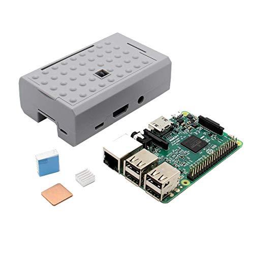 DXX-HR DIY-Kit Modul 3 in 1 Raspberry Pi 3 Modell B Verpflegung + Aluminium Kupfer-Kühlkörper-Kit + Grau ABS Fall Shell Gehäuse Display-Zubehör