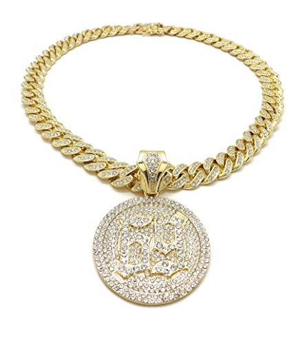 BLINGFACTORY Hip Hop 69 Medallion Pendant & 12mm 18' Full Iced Box Lock Cuban Chain Necklace