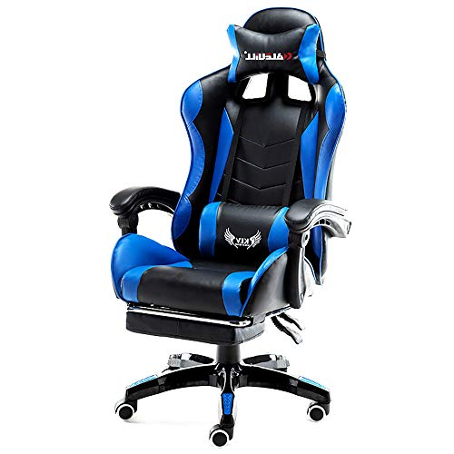 L.HPT-chairs Ergonomic Gaming Chair High Back Swivel Computer Office Chair mit Footrest Adjusting Headrest und Lumbar Support Racing Chair,Blue