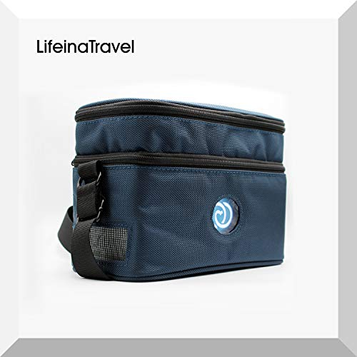 LifeinaTravel-transporttas voor LifeinaBox. Een elegant ontworpen tas voor de LifeinaBox draagbare koelkast (ruimte voor kabels en accessoires zoals LifeinaPower powerbank).