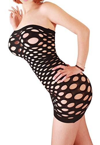 Creamlin Sexy Dessous für Frauen Nahtlose Mesh Chemise Dessous Baby Doll Minikleid One Size (Schwarz)