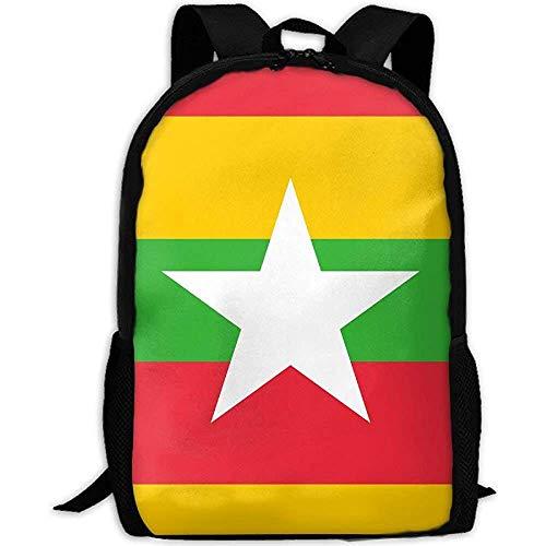 Rucksäcke,Streifen Myanmar Flagge Erwachsenen Reise Rucksack Schule Casual Daypack Oxford Outdoor Laptop Tasche College Computer Umhängetaschen