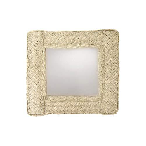 Decowood - Espejo Cuadrado de Pared Decorativo en Esparto Natural, Grande - 62x62 cm
