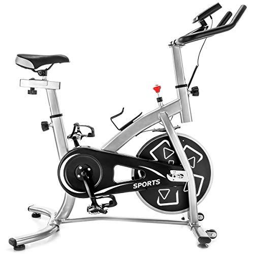 TBNB Ciclismo Indoor Cyclette Cyclette Spin Bike S280 Trainer Cyclette con volano Professionale Fisso da 24 libbre, Argento, Sistema di Trasmissione a Cinghia e Monitor LCD per allename