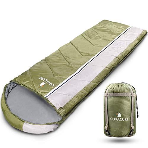Saco de dormir de camping para adultos – 3 estaciones clima cálido y frío, bolsa ligera e impermeable para senderismo, camping, viajes