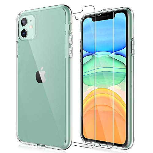 LK iPhone 11 Case with 2 Pack Tempered Glass Screen Protector Acrylic Back and TPU Bumper, Shock-Absorptio, Full Protection Cover - Clear