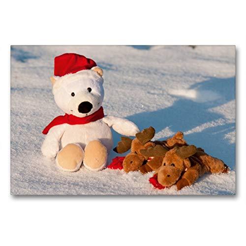 Premium Textil-Leinwand 90 x 60 cm Quer-Format Frohe Weihnachten - Teddy mit Elch im Schnee.   Wandbild, HD-Bild auf Keilrahmen, Fertigbild auf hochwertigem Vlies, Leinwanddruck von Meike Bölts