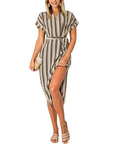 Yoins Damenkleid mit V-Ausschnitt, Blumenmuster, kurze Ärmel, Midi-Kleid, Sommerkleid, lässig, Kleid mit Schlitz Gr. L, gestreift beige
