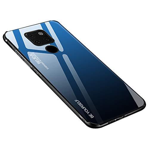 Desconocido Funda para Huawei Mate 20 / Mate 20X / Mate 20 Lite/Mate 20 Pro, Borde de Silicona TPU Suave Vidrio Templado Cubierta Trasera Carcasa a los Arañazos (Huawei Mate 20X, Azul + Negro)