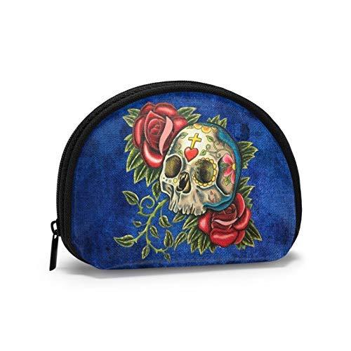 Monedero de azúcar calavera y rosas Shell bolsa de almacenamiento de las mujeres bolso multifunción portátil bolsas de cosméticos cartera