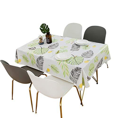 QUANHAO Mantel Impermeable Rectangular PVC Impermeable y Resistente al Aceite Mantel de plástico Mesa de Comedor Comedor Cocina Multicolor Caucho Resistente a la Suciedad (110x160cm, Hojas)