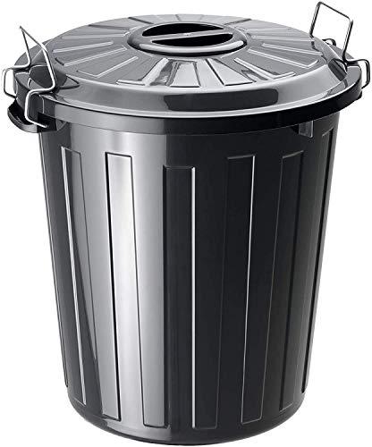 Rotho Basic Mülleimer 25l mit Deckel, Kunststoff (PP) BPA-frei, schwarz, 25l (37,0 x 36,0 x 41,5 cm)