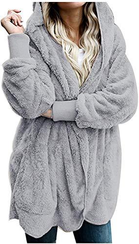 Manteau Femme Hiver Cardigan à Capuche énorme Peluche Manches Longues Blouson Veste Outwear Chaud Automne Hiver Parka Hoodie Grey XXL