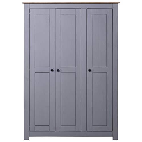 Tidyard Panama-Kiefer Kleiderschrank Grau 3-Türig Dielenschrank Garderobenschrank Schlafzimmerschrank Schrank Holzschrank 118x50x171,5cm