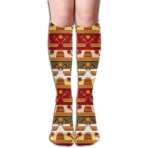 Bunte Socken Glückliche Festliche Bunte Schablone Cinco de Mayos mit Sombrero Gitarre und Blumen Kniehohe 50 Cm Kompressionssocken Beiläufige Athletische Socken
