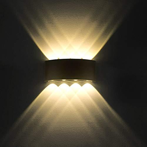 Lampe Murale LED 8W Moderne Appliques Murales IP65 Étanche Applique Luminaire En Aluminium Up Down Décoratif Spot Lumière Nuit Lampe pour Salon Chambre Hall Escalier Pathway (Blanc chaud)