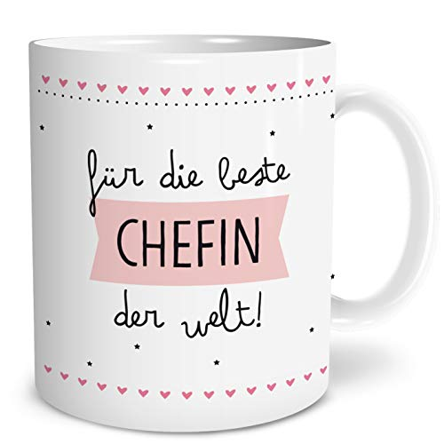 OWLBOOK Beste Chefin Große Kaffee-Tasse mit Spruch im Geschenkkarton Geschenke Geschenkideen Chefin zum Geburtstag