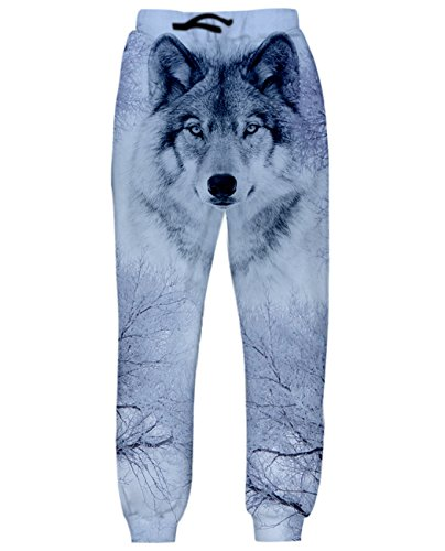 Uideazone Teen 3D Printed Wolf Joggers Pants Cool Trousers Sweatpants Wolf-2 Small