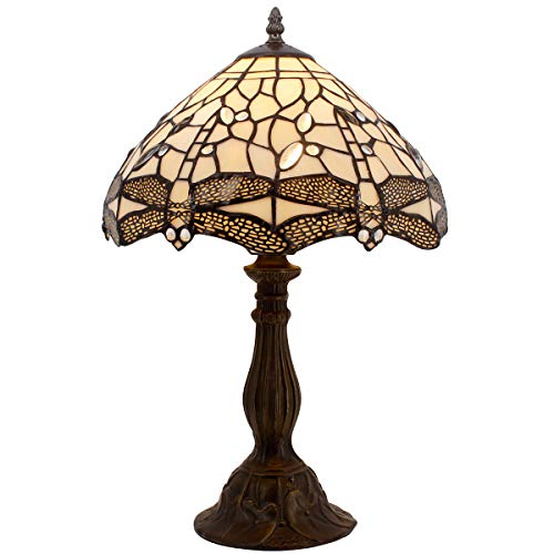 Tiffany Lamp Cream Stained Glass Crystal Bead Dragonfly Table Light W12H18 Inch S139 WERFACTORY Lamps Parent Friend Lover Living Room Bedroom Coffee Bar Study Office Desk Bedside Antique Craft Gifts