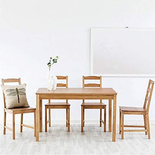 Yaunli - Mesa de comedor y silla de comedor rectangular de madera maciza (color: natural, tamaño: 118 x 74 x 74 cm)