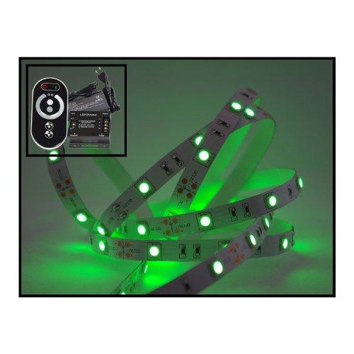 Bande LED 6 m vert Set (M 30 LED/m, protection IP20) avec contrôleur, télécommande et bloc d'alimentation 3 A
