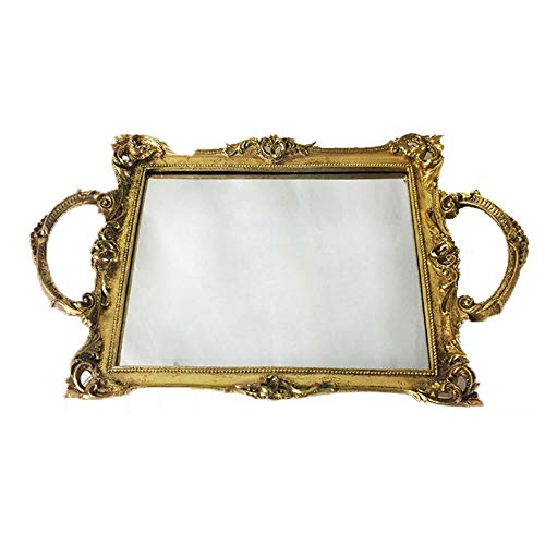 Decorative Tray Perfume Tray Gold Ornate Tray Gold Vanity Tray Gold Drinks Tray Metal Mirror Tray Gold Finish Gold Tray for Vanity Mirror Tray for Dresser Bathroom ( Color : Gold , Size : One size )