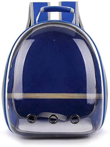 longsheng Haustier-Transporttasche für Papageien, Reisekapsel, atmungsaktiv, 360° Sightseeing, Blau