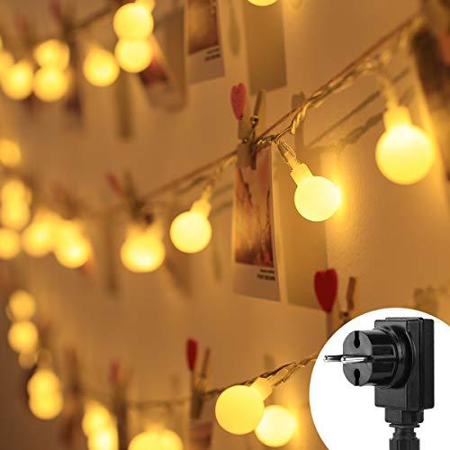 Lighting EVER Guirnalda de Luces LED, 10m 100 LED, Enchufe y Programador, 8 Modos, Blanco cálido, Bolas decoración de casa, Fiestas, arbol de Navidad etc