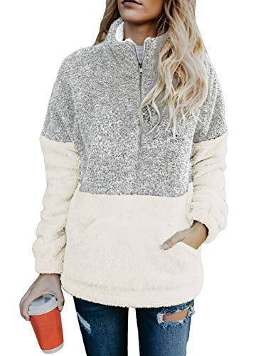 Chase Secret Womens Autumn Winter Casual Zipper Collar Sherpa Fleece Pullover Long Sleeves Tops with Pockets S Grey