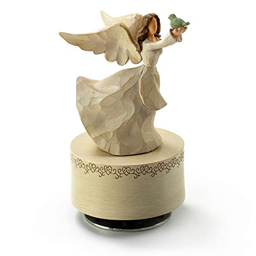 Music Box Attic, Inc. Willow Tree Figurines Collection – Custom 18 Note Sculpted Angel in White...