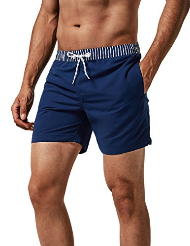 MaaMgic Pantaloncini da Bagno Uomo con Ananas Stampato Asciugatura Rapida e Fodera in Mesh per Spiaggia Piscina e Vacanze al Mare, Cintura a Righe Blu Navy, XL
