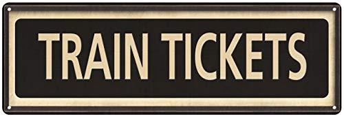 Train Tickets Sign Vintage Decor Retro Signs Wall Art Tin Decorations Plaque City Railroad Train 6 x 18 High Gloss Metal 206180066027