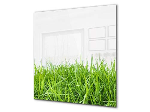 Rückwand aus gehärtetem Glas für Kochfeld – Glasauftankung – Rückwand für Küchenspüle BS17 Serie grünes Gras und Getreide: Grass Leaf Green 8
