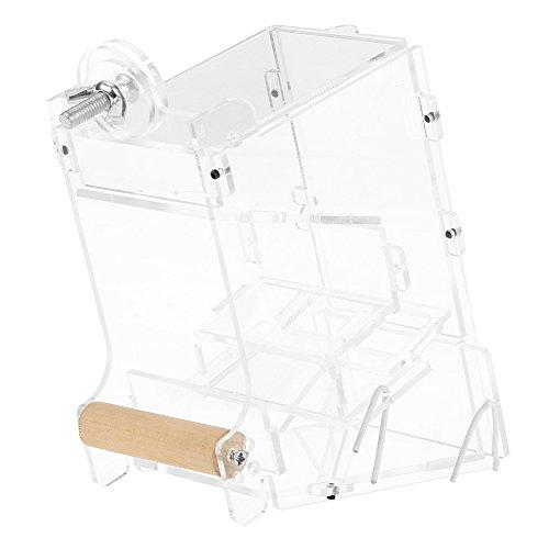 鳥 自動給餌器 透明 ネジ固定 おしゃれ アクリル材料 簡単組み立て 鳥用フードフィーダー 餌やり 餌入れ 給餌機 自動餌与え 容器 小型動物 アオハウオ インコ 文鳥 鳥ケージかご内装 汎用(S)