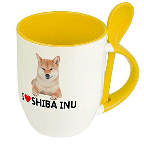 digital print Hundetasse Shiba Inu - Löffel-Tasse mit Hundebild Shiba Inu - Becher, Kaffeetasse, Kaffeebecher, Mug - Gelb