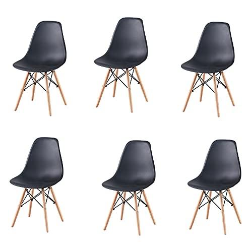 GrandCA HOME Set di 6 Sedie,Sedie da Pranzo Sedia da Ufficio Design Nordico Sedia in Stile retrò (Nero-6)