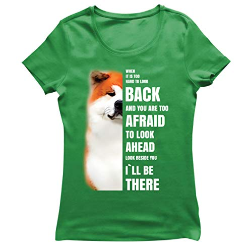 lepni.me Camiseta Mujer Will be There for You Motivational Akita Inu Dog Lover Gift (XXL Verde Multicolor)