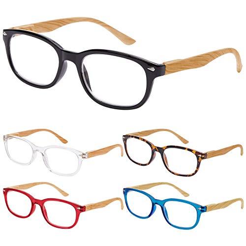 EFE Gafas de Lectura 5 Unidades Anti Luz Azul Gafas con Flexible Bisagra de Resorte Montura Cuadrada Vista de Cerca Hombre y Mujer (+2.50)