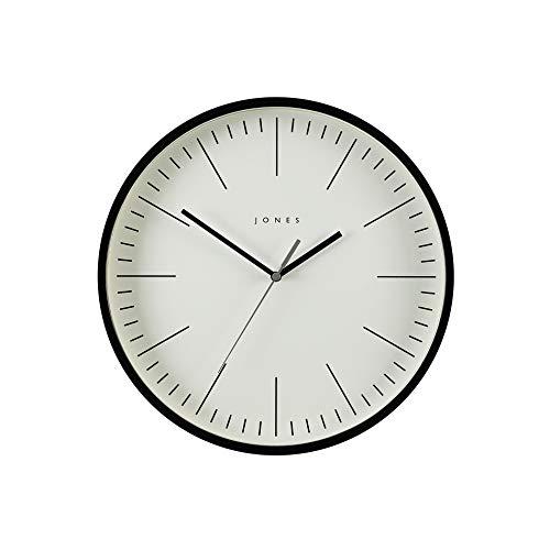 JONES CLOCKS® Spartacus Wanduhr, minimalistisches Design, farbiges Gehäuse, farbenes Zifferblatt, Schwarze und graue Zeiger, 30 cm (Schwarz)