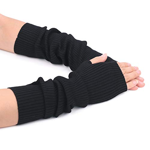 Flammi Women's Knit Arm Warmer Gloves Warm Cashmere Long Fingerless Mittens with Thumb Hole (Black)
