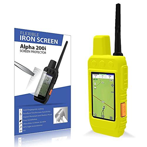 Pack de protección para Garmin Alpha 200 protector de Pantalla irrompible y Funda silicona (Amarillo)