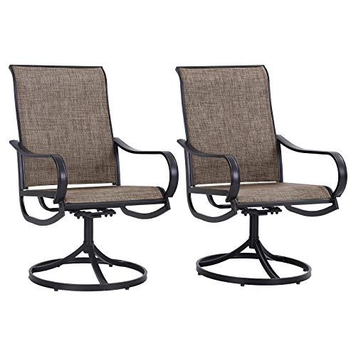 Sophia & William Patio Dining Chairs Metal Swivel Chairs Textilene Set of 2 Outdoor Furniture for Lawn Garden Backyard Weather Resistant-Black Frame