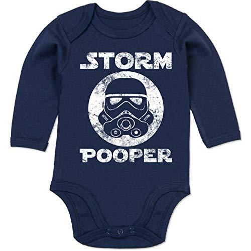 Sprüche Baby - Storm Pooper Vintage - 3/6 Monate - Navy Blau - Baby Body mit sprüchen - BZ30 - Baby Body Langarm