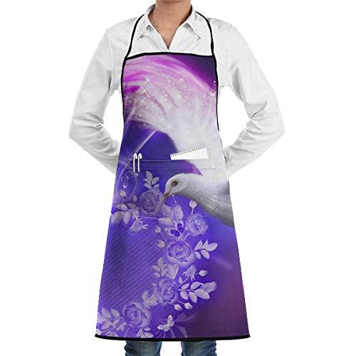 N\A Cocina Chef Delantal con Babero Belleza Paloma Cuello Cintura Corbata Centro Canguro Bolsillo Impermeable