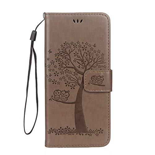 Felfy Kompatibel mit Galaxy S7 Hülle Leder Flip,Kompatibel mit Galaxy S7 Tasche mit Kartenfach Handyhüllen Leder PU Leder Wallet Klapphülle Flip Book Hülle Tasche mit Niedlich Eule Muster,Grau